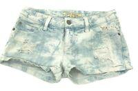 Forever 21 Women's Size 24 Jean Shorts Blue Acid White Wash Distressed Denim