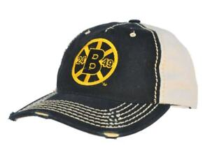 Boston Bruins Retro Brand Black Beige Two Tone Stitched Vintage Snapback Hat Cap