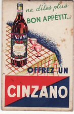 Y365 ancien petit carnet d'Epicier CINZANO le meilleur apéritif a bas de vin