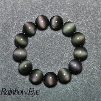Collections Jewelry Crystal Beads Bracelet Natural Obsidian Rainbow Eye