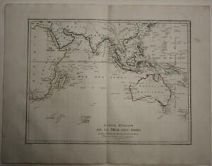AUSTRALIA INDIAN OCEAN SOUTHEAST ASIA INDIA 1803 POIRSON UNUSUAL ANTIQUE MAP