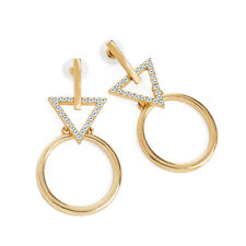 Gold Coloured Round Crystal Drop Earrings Ladies Fashion Jewellery