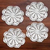 4Pcs White Vintage Hand Crochet Doilies Cotton Lace Doily Round Table Mats 15cm