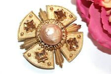 Accessocraft Nyc Signed Designer Topaz Brown Glass Textured Maltese Brooch Bd21