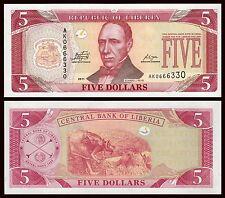Liberia  5 Dollars  2011  Pick 26f(1)   SC = UNC