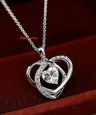 18k White Gold Filled Love Heart Bridal Necklace Made with Swarovski Crystal N64