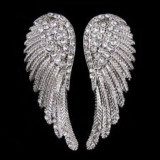 Lovely Angel Wing 5.5cm Long Use Austria Crystal White Gold-plated Earrings