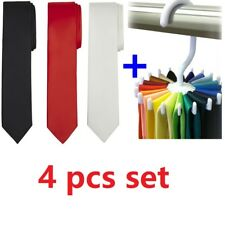 4 PCS Set Solid Plain Classic Skinny Tie Hanger Silk Woven Slim Necktie Mens Tie