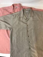 Chereskin Lot of 2 Mens Medium Short Sleeve Button Down 1Tan 1Rose Shirt
