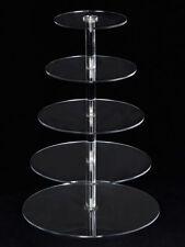 5 Tiers Crystal Clear Acrylic Round Cake Cupcake Stand Birthday Wedding Display