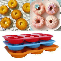 Silicone Donut Mould 6 Cavity Non-Stick Full-Sized Safe Baking Tray Maker DD