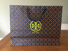""""""" TORY BURCH """" LARGE NAVY/ORANGE GIFT BAG EMBOSSED WITH BRAND LOGO & NAME!"""