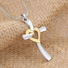 Women Lady Silver Jewelry Cross Heart Love Pendant Box Chain Necklace Xmas Gifts
