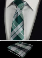 Green Plaid Silver Scottish Tartan Checked Tie Silk Wedding Hanky 414 -6