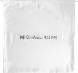 "Michael Kors Medium Drawstring Dust Bag Ivory / Silver 16""x14"" 35S0PU0N6C FS"