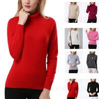 Womens Cashmere Jumper Summer Knit Pullover Wool High Neck Sweater Size KALA