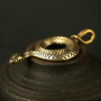 Antique Brass Snake Pendant Small Statue Old Chinese Zodiac Pocket Gift Ornament