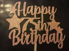Happy 75th Birthday Cake Topper With Stars Any Age Any Colour Glitter FREE P&P
