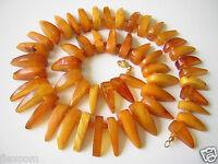 """Antike Butterscotch Honig Natur Bernstein Kette """"Zähne & Kugeln"""" Amber 61,8 g"""