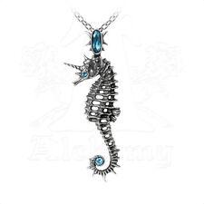 Alchemy of England Aequicorn Seahorse Silver Blue Swarovski Crystal Necklace