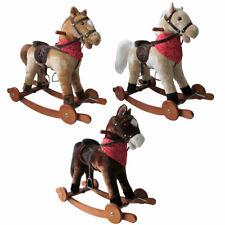 Schaukelpferd mit Sound und Rollen Holz Plüsch Schaukel Pferd NEU