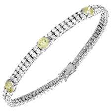 Antique Style Ladies Diamond Bracelet 9.50 Carat Fancy Yellow Round Cut 14k