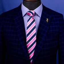 Pink & Navy Blue Formal Business Striped 3 Inch Tie Mens Professional Fashion
