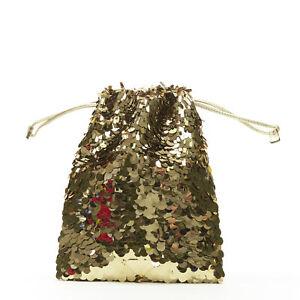 PRADA gold pailette sequins embellished drawstring pouch evening party bag