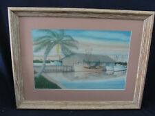 Vintage Pastel Chalk Maritime Drawing by Capt. R.H. Knight Boathouse