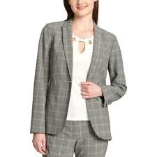 Tommy Hilfiger Womens Gray Plaid Business Jacket Blazer...