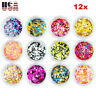 12 Pack Nail Art Glitter Powder Pieces UV Gel Acrylic Sequins Decoration Tips