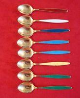 8 Georg Jensen Danish Sterling Vermeil Demitasse Spoons with Enamel #3106