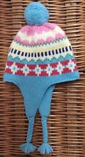 MINI BODEN Wool Fair Isle NORDIC Baby Hat POM POM Fleece-Lined BRAIDED TASSEL S