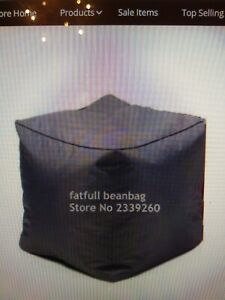 COVER ONLY NO FILLER - Gray polyester Anywhere Bean Cube - 16inch bean bag stool