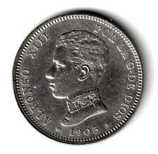 ESPAÑA 2 pesetas plata 1905 SM.V *19*05* Rey Alfonso XIII tipo Cadete