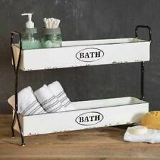 Farmhouse new White Enamel 2 tier BATH CADDY