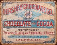 Hershey Chocolate Cocoa Advert VINTAGE ENAMEL METAL TIN SIGN WALL PLAQUE