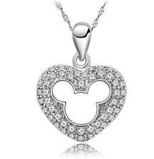 Sterling Silver Disney MICKEY MOUSE Zirconia Pendant Necklace Chain Gift Box A8