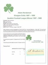 ADAM HENDERSON GLASGOW CELTIC 1897-1898 EXTREMELY RARE ORIG HAND SIGNED CUTTING
