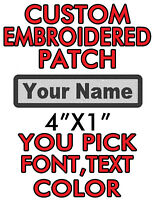 """Custom Embroidered 4""""x1"""" patch. you pick color/font/text  biker,work,name tag!!!"""