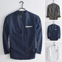 Mens Long Sleeve 100%Cotton Grandad Collarless Henley Shirt Causal Beach Top Tee