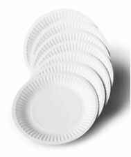 """Pack of 100 White Disposable Paper Plates for BBQ and Parties 7"""""""