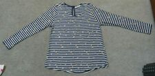 Just Jeans Size Medium Long Sleeve Blue and White Stripe Golden Star Print Top.