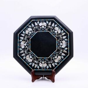 Black Marble Small Coffee Table Top Mop Inlay Floral Marquetry Arts Furniture