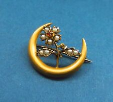 Antique Victorian FLORAL BROOCH PIN Seed Pearls Ruby Gold