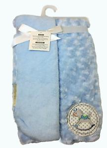 "Blankets & Beyond Soft Blue Rosette Rocking Horse Baby Blanket 30"" x 30"""