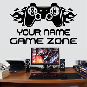 Game Zone Gaming Boys Girls Kids Gamer Personalised Wall Sticker Decal Black #3