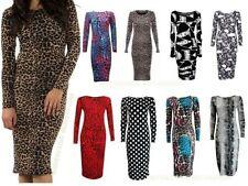 Round Neck Animal Print Regular Size Dresses Midi