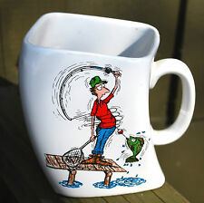 Vintage Humorous Fly Fishing Cartoon Mug 'The Results Of Over Cast' Square Twist