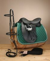 """English Dressage Saddle Pkg - Newport Synthetic - 17""""or18"""" -Regular or Wide Tree"""